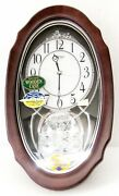 Rhythm Musical Wooden Wall Clock -crystal Hearts With 30 Melodies 4mh870wu06