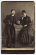 Cabinet Card Handsome Couple With Hats, Casual Pose. Skowhegan, Maine.