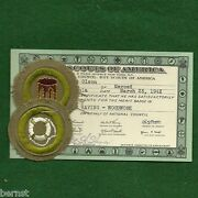 Vintage 1942 Boy Scout Merit Badge Card And Badges - Woodwork And Life Saving
