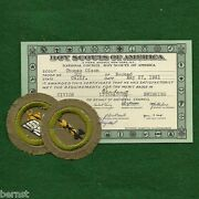 Vintage 1941 Boy Scout Merit Badge Card And Badges - Civics And Reading
