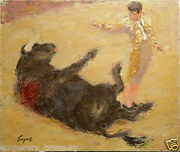 20th Century Acrylic Painting Bull Fight By Dick Sargent American 1911-1978