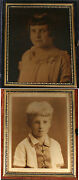 Orotone Portraits Boy And Girl. Two Set, 1/4 Plate, Push Button Full Case.