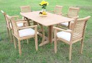 Dsms Grade-a Teak 7pc Dining 69 Console Rectangle Table 6 Stacking Arm Chair Set