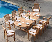 Dsms Grade-a Teak 9pc Dining 94 Mas Oval Table 8 Stacking Arm Chair Set Patio