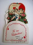 Vintage Victorian Pull Down Valentine Card W/ Cupids Dove And Roses On A Boat