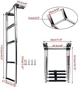 New 4step Telescoping Swim Marine Boat Ladder Stainless With Built In Handle Us