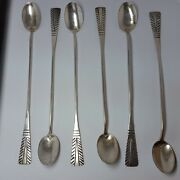Vintage C.1940 Coin Silver Navajo 6 Pc Ice Spoon Set By Marion Woodwards X570c