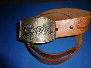 Coors Belt Buckle With Hand Tooled Tan Leather Belt With Floral Pattern - 1970's