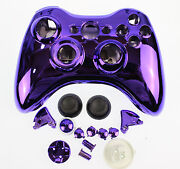 Replacement Custom Chrome Purple Xbox 360 Controller Shell Case.