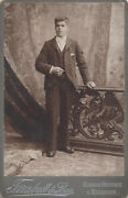 Cabinet Card Of Very Handsome Well-dressed Young Man W/ Fur Rug - Scotland