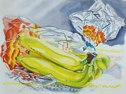 Janet Fish Bag Of Bananas 1996 Limited Edition Hand Signed Etching Us Artist
