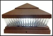 4-pack 5x5 Or 6x6 Solar Copper Post Caps For Pvc Vinyl Fence Lights With 5 Leds