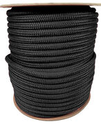 Anchor Rope Dock Line 1/2 X 300and039 Double Braided 100 Nylon Black Made In Usa