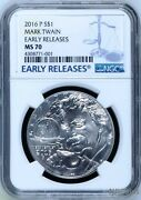 2016 P Silver Mark Twain Commemorative Ngc Ms70 Early Releases Dollar Coin 1