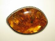 Gorgeous Huge Natural Baltic Honey Amber And Sterling Silver Pin Brooch 28g