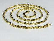 14k Solid Yellow Gold Diamond Cut Rope Link Chain/necklace 30 5mm 35 Gram 035