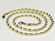 14k Solid Yellow Gold Diamond Cut Rope Link Chain/necklace 24 5mm 28 Grm R035