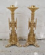 Pair Of 22 Ht. Brass Gothic Altar Candlesticks 41 More Available Chalice Co