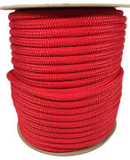 Anchor Rope Dock Line 3/8 X 50and039 Double Braided 100 Nylon Red Made In Usa