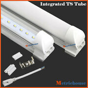 10pcs 4ft 120cm Led T8 20w Integrated Tube Light Bulbs 6000k Clear Frosted Lens