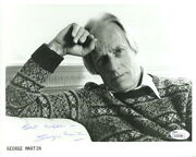 George Martin Hand Signed 8x10 Photo   Great Pose Beatles Producer  Jsa