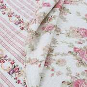 New Cozy Chic Cottage Pink Red Green Yellow White Rose Shabby Soft Quilt Set