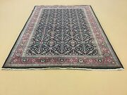 6 X 9 Navy Rose Fine Ferahan Oriental Area Rug Geometric Hand Knotted