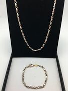 Menand039s 14k White And Rose Gold Solid Link Necklace And Bracelet Set 34 Grams