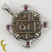 Bhutan Coin In Silver Bezel With Bail 4 Ruby Cabochons Pendant Ar-1001
