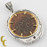 Tibet Coin In 2 Tone Silver Bezel With Tourmaline Pendant Ar-1014