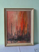 Vintage Signed Danny Garcia Tall Masts Ships Lithograph On Canvas Framed In 1969