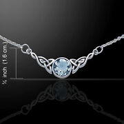 Celtic Knotwork .925 Sterling Silver Necklace Aquamarine Gemstone By Peter Stone