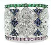 Gorgeous 1.5 Ct Pink Green And Blue Sapphires .6 Ct Diamond Heart Band Ring 14k Wg