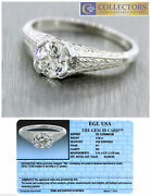 Antique Art Deco Handcrafted 0.65ct Diamond 20k White Gold Engagement Ring
