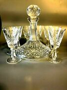 Vintage Waterford Crystal Decanter And 8 Crystal Glasses Set