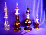4 Gorgeous Egyptian Perfume Bottles Mouth Blown Glass With Gold Trim