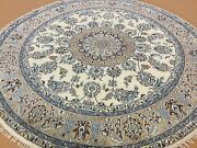 6and039 X 6and039 Round Ivory Beige Fine Wool And Silk Oriental Area Rug Hand Knotted Foyer