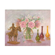 Flowers Vases And Figurines By Anthony Sidoni 2000 Signed Oil On Canvas 11x14