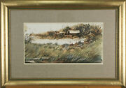 Asterio Pascolini Landscape Fall 1966 Signed Watercolor Painting 20x28 1/2