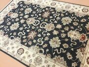6 X 9 Black Beige Ziegler Oriental Area Rug Hand Knotted All Over Wool