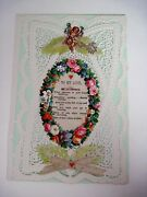 Vintage Victorian 1800and039s Valentine Card W/ Paper Lace Cupid To My Love N