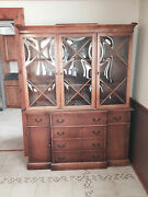 Saginaw Furniture Breakfront With Curved Glass Antique Vintage