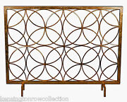 Fireplace Screens - Chatsworth Decorative Fire Screen - Antique Gold - Circles