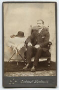 Cabinet Card Man Seated Striped Suit Bowler Hat And Gloves On Table.