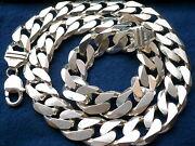 15mm 925 Sterling Silver Menand039s Cuban Link Chain Necklace Length 20 - 36