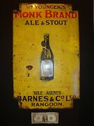 Monk Brand Ale And Stout, Antique Beer Advertising Porcelain Enamel Sign, Rangoon