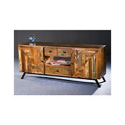 60 L Tv Cabinet Media Console 2 Door 3 Drawer Reclaimed Wood Distressed Paint