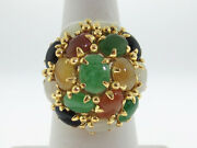 Estate Dome Multi-color Jades Solid 14k Yellow Gold Cocktail Ring