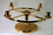 Nice Altar Top Advent Candle Wreath In Solid Polished Brass Chalice - Church
