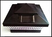 8-pack 5x5 Or 6x6 Solar Black Post Caps Square Fence Lights With 5 Led Lights